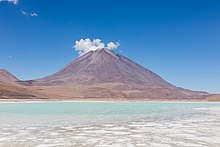 Licancabur, against a blue sky across the Laguna Verde salt lake