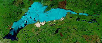 Lake Athabasca - Ice breakup on Lake Athabasca (June 9, 2002)