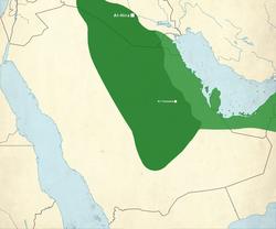 Carte du royaume lakhmide au VIe siècle.  Le vert clair est le territoire sassanide gouverné par les Lakhmides