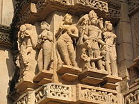 Hindu sculptures at the famous Khajuraho temple in Madhya Pradesh.