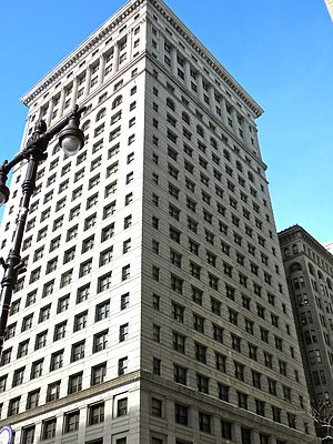 Oxide jacking - The cornice at the top of the Land Title Building was damaged by oxide jacking.
