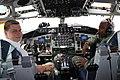 Latvian Prime Minister in the cockpit of KC-135 Stratotanker (7413871034).jpg