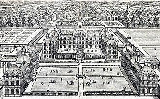 Château de Richelieu - Image: Le Magnifique Château de Richelieu (Marot) INHA NUM 4 RES 826 – 01 Vue générale en perspective (detail)
