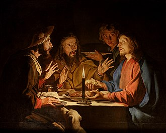 Emmaus - Supper at Emmaus with candlelight by Matthias Stom