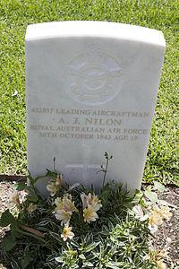 Leading Aircraftman A J Nilon gravestone in the Wagga Wagga War Cemetery.jpg