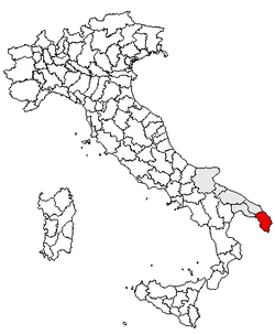 Location of Province of Lecce