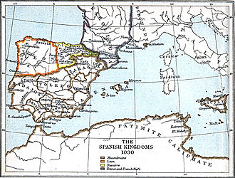 In 1030, the Kingdom of Navarre controlled the Count of Aragon and the Count of Castile, who later became major kingdoms of its time. Leon1030.jpg