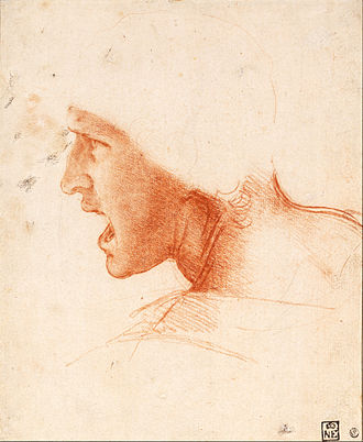 The Battle of Anghiari (painting) - Study of a Warrior's Head for the Battle of Anghiari. Red chalk on very pale pink prepared paper, 22.6 × 18.6 cm. Museum of Fine Arts, Budapest