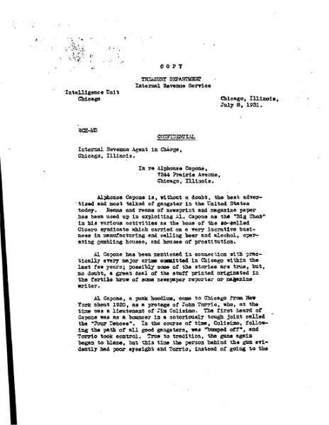 File:Letter from Hodgins, Westrich, Clagett to IRS Agent in Charge regarding Al Capone, 1931.djvu