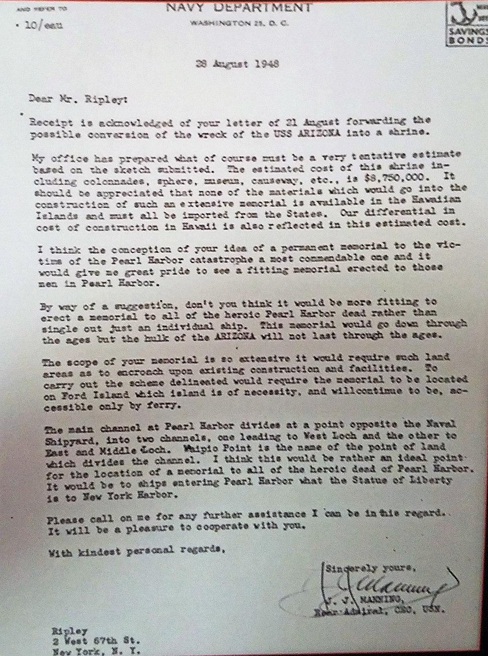 Letter from RADM J.J. Manning to Robert Ripley