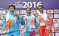 Lidiyamol Sunny of India won the Gold Medal, Tongbram Manorama Devi of India won the Silver medal in the 40 Km Criterium Race of Woman in the cycle events of the 12th South Asian Games-2016, in Guwahati.jpg