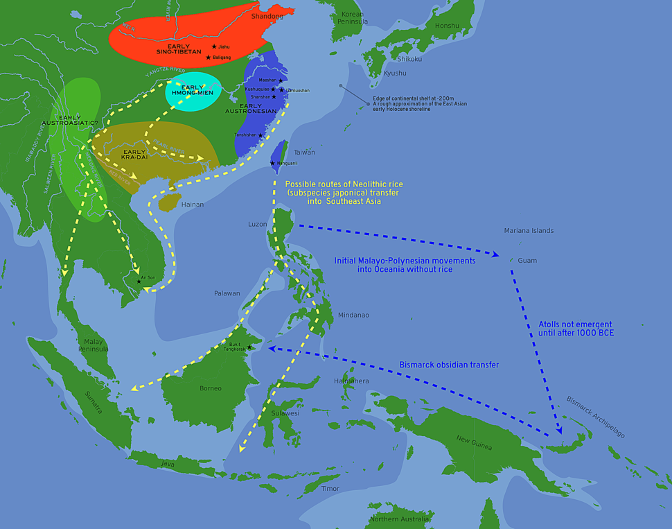 Likely routes of early rice transfer, and possible language family homelands (archaeological sites in China and SE Asia shown)