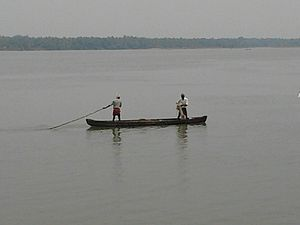 Bharathappuzha - Local fishermen in Bharathapuhza
