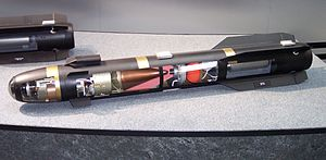 AGM-114 Hellfire - A Hellfire II exposed through transparent casing.