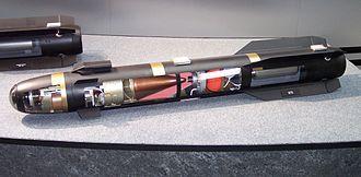 AGM-114 Hellfire - A Hellfire II exposed through transparent casing.
