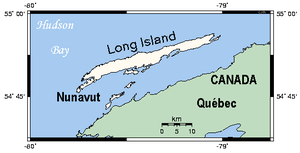 Long Island (Hudson Bay, Nunavut) - Closeup map