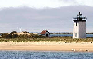 Long Point Light - View from the East (2009). The mound is what remains of the Long Point Battery.