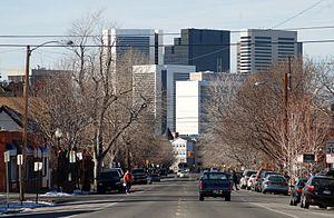 City Park West, Denver - Looking west down 22nd Street, City Park West, Denver CO