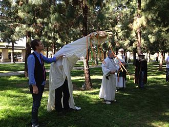 Los Angeles St. David's Day Festival - Druid Ceremony at the 2013 Los Angeles St. David's Day Festival, with founder Lorin Morgan-Richards holding the Mari Lwyd, while Peter Anthony Freeman speaks.