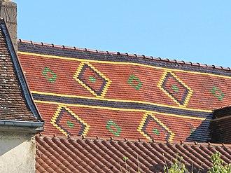 Louhans - Burgundian tiled roof of the church