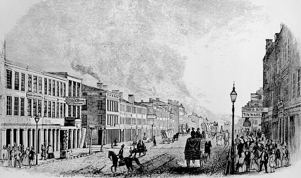 Artist's rendering of Main Street in Louisville as it appeared in 1846