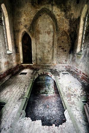 Inside the Rosen's funeral chapel in Mäetaguse, Estonia