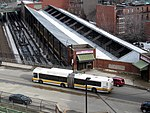 MBTA route 39 bus and Back Bay trainshed, March 2015.JPG