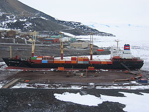 Motor ship - The supply ship MV ''American Tern'' during cargo operations at McMurdo Station in Antarctica in 2007