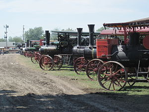Mount Pleasant, Iowa - Steam tractor lineup at the 2010 Midwest Old Thresher's Reunion