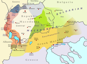 Galičnik dialect - The location of the Galičnik dialect among the others Macedonian dialects