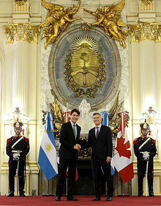Argentina–Canada relations - Argentine President Mauricio Macri with Canadian Prime Minister Justin Trudeau in Buenos Aires, 2016.