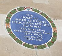 Main Block of the County Hall plaque to ILEA Crop.jpg