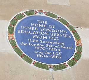 Inner London Education Authority - Image: Main Block of the County Hall plaque to ILEA Crop