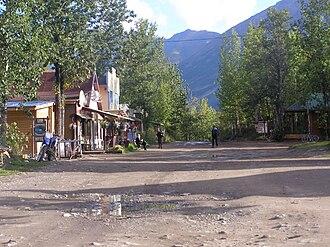 McCarthy, Alaska - The bulk of McCarthy's main road