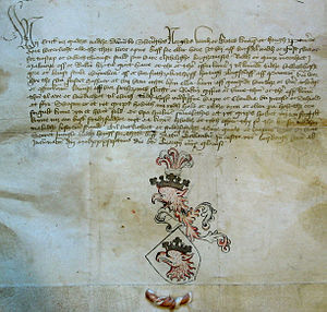 Scania - Letter from Eric of Pomerania dated 1437, with a description of the arms granted to the city of Malmö.