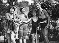 Man, women, boy, tableau, summer, fruit, bathing suit, bathing caps, sunshades, bathrobe Fortepan 25529.jpg