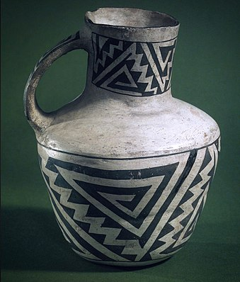 Mancos Pitcher with Black on White Geometric Designs, Ancestral Pueblo, 900-1300 AD, Brooklyn Museum Mancos pitcher.jpg