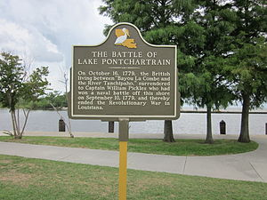 Battle of Lake Pontchartrain - Historic marker in Mandeville, Louisiana