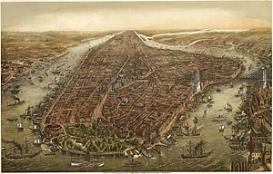 English: Bird's eye panorama of Manhattan & New York City in 1873.