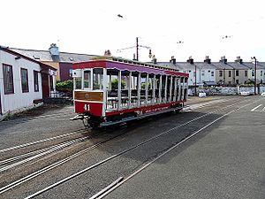 Ramsey railway station (MER) - Image: Manx Electric Railway at Ramsey (geograph 5046163)
