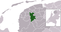Highlighted position of Leeuwarden in a municipal map of Friesland