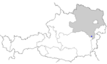 Map of Austria, position of Aspang-Markt highlighted