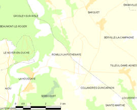 Mapa obce Romilly-la-Puthenaye
