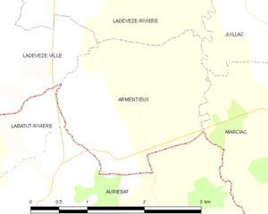 Armentieux - Map of Armentieux and its surrounding communes