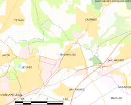 Mapa obce Vendargues