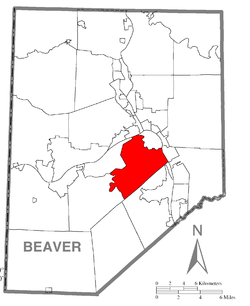 Map of Beaver County, Pennsylvania highlighting Center Township