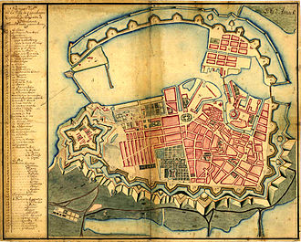 1728 in Denmark - A 1728 map of Copenhagen showing the city as it appeared immediately before the Great Fire of 1728