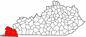 Jackson Purchase - Map highlighting Kentucky's Jackson Purchase region.