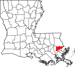 State map highlighting Orleans Parish