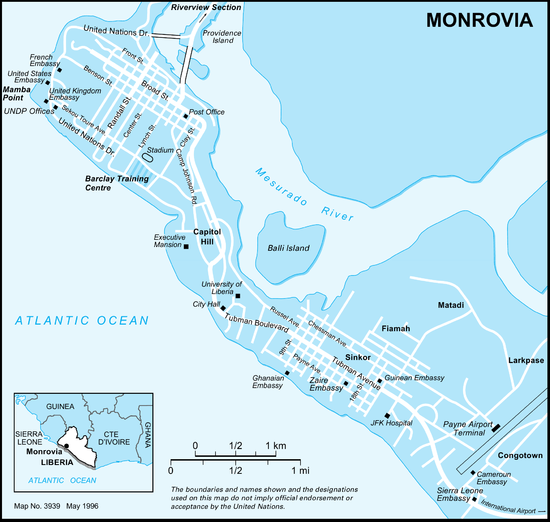 Monrovia - Wikipedia on geographical map of the united kingdom, geographical map of bahamas, geographical map of bermuda, geographical map of san salvador, geographical map of djibouti, geographical map of indochina, all the maps of liberia, geographical map of the philippines, geographical map of the dominican republic, geographical map of punta cana, geographical map of malaysia, geographical map of canada, geographical map of macedonia, africa map with liberia, geographical map of singapore, geographical map of burma, geographical map of belarus, geographical map of luxembourg, geographical map of trinidad and tobago, geographical map of united states of america,